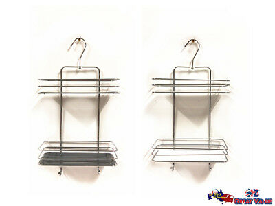AU7.99 • Buy Metal 2 Tiers Hanging Shower Caddy Bathroom Shelf Storage Organizer Rack CRM1002