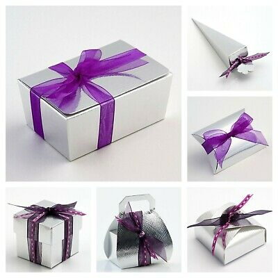 £1.99 • Buy Silk Silver Wedding Favour Boxes And Ballotins Party Favor Sweet Gift Box Only