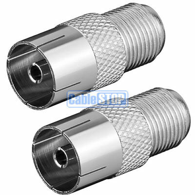 £2.15 • Buy 2 X FEMALE COAX To F TYPE FEMALE SCREW SOCKET TV Aerial Sky Connector Adapter
