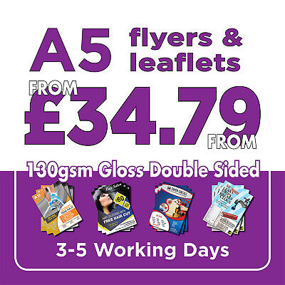 £36.99 • Buy 1000 A5 Full Colour Double Sided Flyers / Leaflets Printed 130gsm Gloss