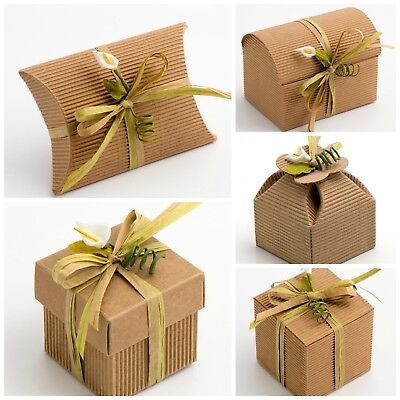 CORRUGATED KRAFT Natural DIY Wedding Party Favour Gift Boxes Shabby Chic Vintage • 3.85£