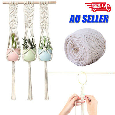 AU17.99 • Buy 4/5/6mm Macrame Rope Natural Beige Cotton Twisted Cord Artisan Hand Craft Decor
