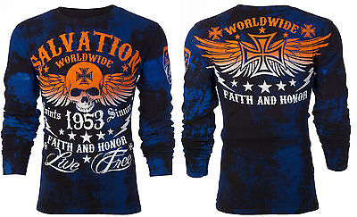 $25.99 • Buy ARCHAIC By AFFLICTION Mens LONG SLEEVE THERMAL Shirt BLACK TIDE Skull $58 C