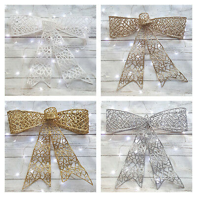 Large Glitter Bow Christmas Tree Topper Silver Champagne Gold White Xmas Decor • 7.49£
