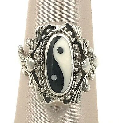 Vintage .925 Sterling Silver & Onyx Decorative Yin Yang Ring, Size 5.25 • 28.69£
