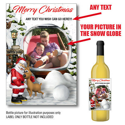 Personalised Picture Wine Champagne Bottle Label Christmas Snow Globe Photo 130 • 2.95£