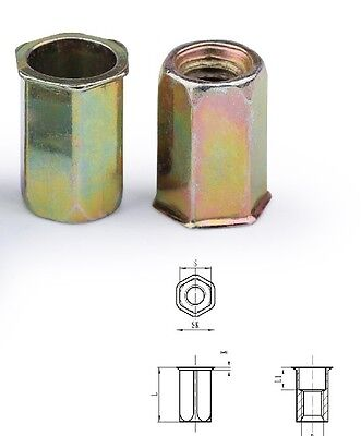 AU15.50 • Buy Qty 20 M6 Nutsert Zinc Plated Thin Sheet Countersunk Hexsert Hex Insert Rivnut