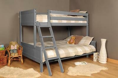 £219.99 • Buy 3ft 4ft Triple Wooden Bunk Bed Kids In Grey With Mattress Option