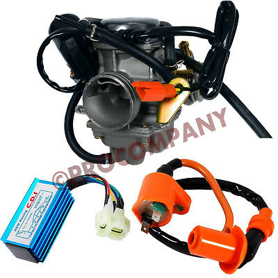 $60 • Buy 24mm Carburetor Racing CDI Box 6pin Ignition Coil For 50cc-150cc Scooter Go Kart