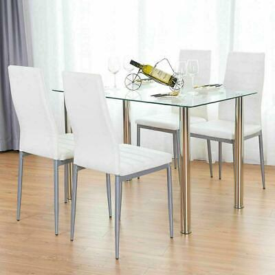 5 Piece Dining Table Set White 4 Chair Glass Metal Kitchen Dining Room Breakfast • 140.99$