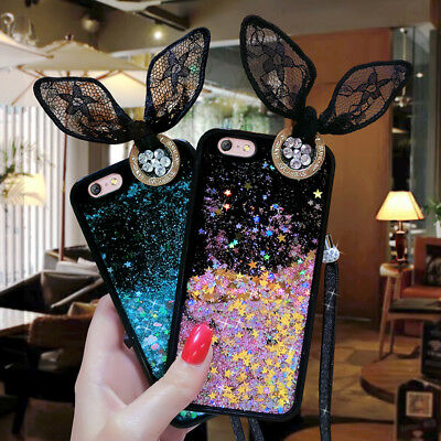 AU5.89 • Buy Lace Rabbit Ears Lanyard Glitter Stars Dynamic Quicksand For Various Phone Case