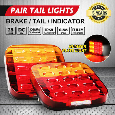 AU25.95 • Buy 2x Square LED Trailer Tail Lights Stop Indicator Lamp Number Plate Light