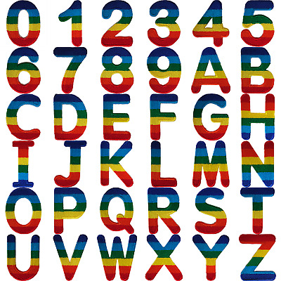 Rainbow Letter Number Iron Sew On Patches Badges Name A-Z Letters Numbers Patch • 1.99£