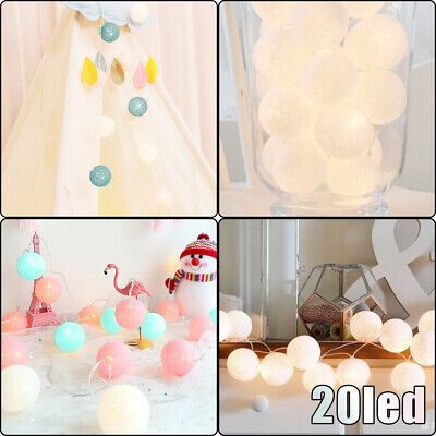 20 LED 3.6M Globe Garland Cotton Ball String Fairy Lights Christmas UK Plug In • 9.89£