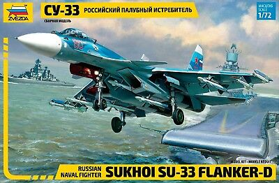 Zvezda 1/72 Sukhoi SU-33 Flanker D Russian Naval Fighter # 7297 • 22.91£
