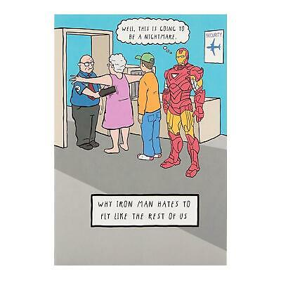 Hallmark Avengers Iron Man Humour Birthday New Card 'Hassle Free' - Medium • 3.60£