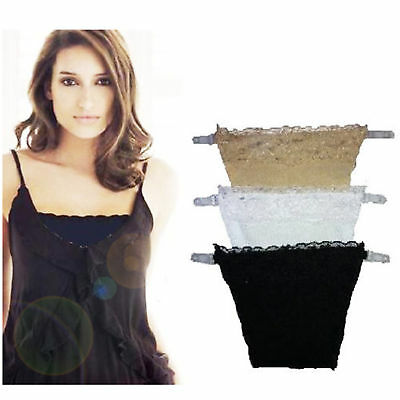 3 Piece Pack LADY WOMEN MODESTY PANEL LACE TRIM CAMI SECRET CLIP ON BRA COVER • 3.98£