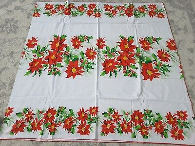 $ CDN48.51 • Buy Vintage Christmas Poinsettia Tablecloth 100x50 Holly Berries Large Tablecloth