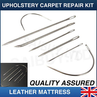 Pack Of 7 Hand Repair Kit SEWING NEEDLES LEATHER UPHOLSTERY Carpet Canvas Curved • 2.65£