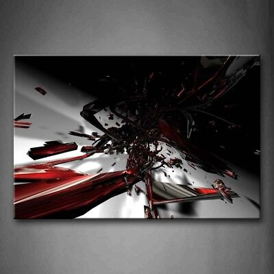 $43.69 • Buy Framed Abstract Fractal Black Red White Wall Art Picture Print On Canvas Decor