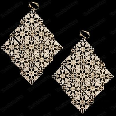 £3.44 • Buy 5 Long BIG GOLD FASHION EARRINGS Vintage Filigree Lace LARGE CHANDELIER Clip On