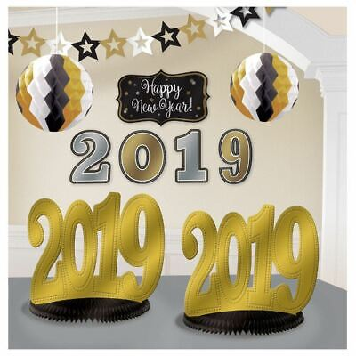 £7.23 • Buy 2019 New Years Eve Graduation Room Decorating Kit 10 Pc Black Gold Silver