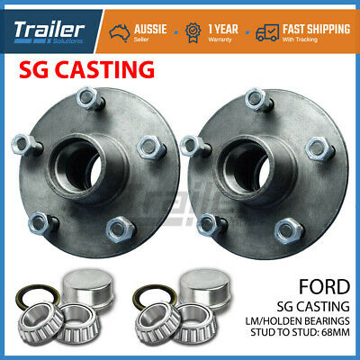 AU56.71 • Buy Trailer Hubs 5 Stud Ford Trailer Lazy Hubs Kit With Holden Bearings (lm) Sg Cast