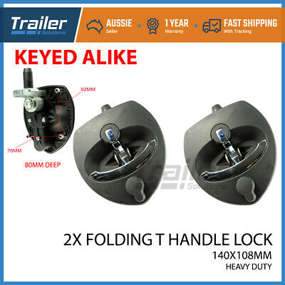 AU59.01 • Buy 2 X Folding T Handle Lock Flush Mount Latch Heavy Duty Trailer Toolbox Caravan