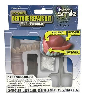 $19.95 • Buy COMPLETE DENTURE REPAIR & RELINE TEETH KIT Fix Your Dentures Fast And Easy  NEW