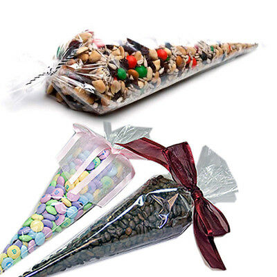100Pcs Party Acces Clear Candy Cookie Food Bag Plastic Triangle Popcorn Bag New • 3.99£