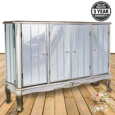£379.95 • Buy Antique Large Mirrored Glass Sideboard Cabinet Cupboard Shabby Chic French Style