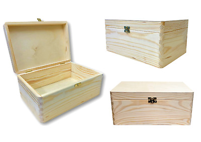 Unpainted Wooden Box Storage Decoupage Keepsake With Lid 30 X 20 Cm QUALITY • 13.50£