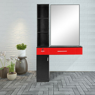 $264.60 • Buy Barber Locking Wall Mount Hair Styling Barber Salon Station Black&Red W/Mirror