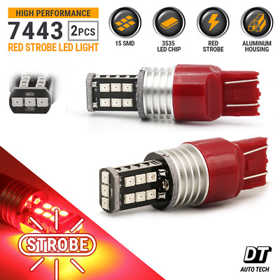 $11.69 • Buy Syneticusa 7443 7440 LED Red Strobe Flash Brake Stop Tail Parking Light Bulb