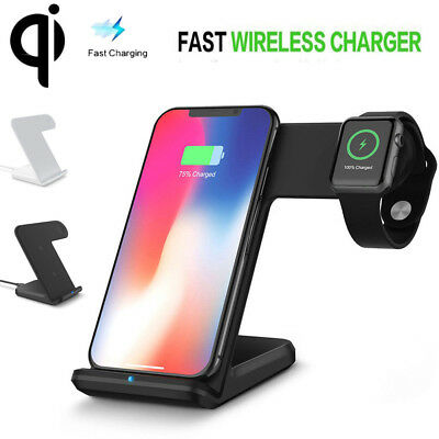 AU33.25 • Buy AU! Wireless Charger Phone Stand Charging Dock For IWatch IPhone X 8 Apple Watch