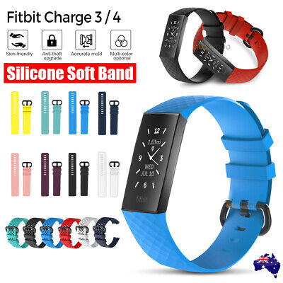 AU5.45 • Buy Fitbit Charge 3 4 Watch Soft Silicone Replacement Band Strap Diamond Texture AU