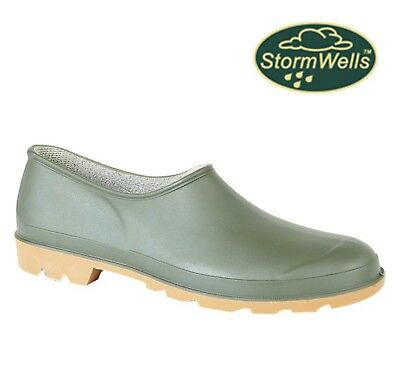 GARDENING CLOGS  Unisex Slip On Welly Shoes - Green  Size 3 4 5 6 7 8 9 10 11 12 • 14.95£