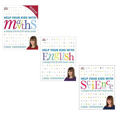 Carol Vorderman Help Your Kids With English,maths,science 3 Books Collection Set • 39.99£