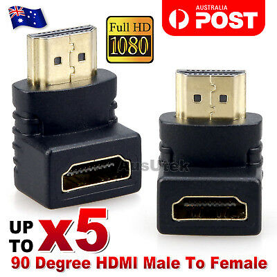 AU5.95 • Buy HDMI Male To HDMI Female 90 Degree Right Angle Adapter Plated Converter