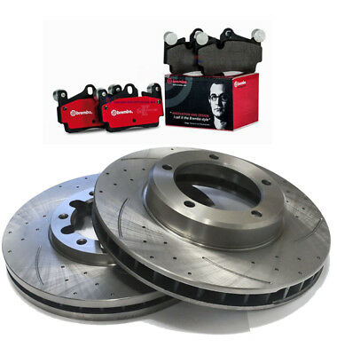 AU189 • Buy SLOTTED DIMPLED Front 294mm BRAKE ROTORS X 2 BREMBO PADS For SUBARU WRX G3 07~12
