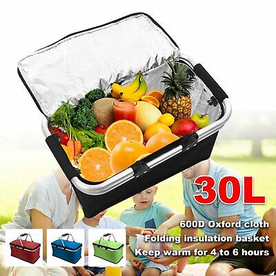 30L Extra Large Cooling Cooler Cool Box Picnic Camping Food Ice Drink Lunch Bag • 9.54£