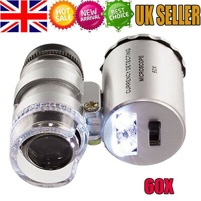 60X Magnifying Loupe Jewelry Jewelers Pocket Magnifier Loop Eye Coins Led Light • 3.78£