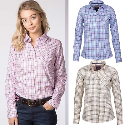 Ladies Shirt Country Checked Pattern Shirt Rydale Soft Cotton Women's Blouse Top • 17.99£