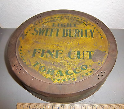 Vintage Sweet Cuba Large Round Tobacco Tin, Great Colors & Graphics Sweet Burley • 42.55£
