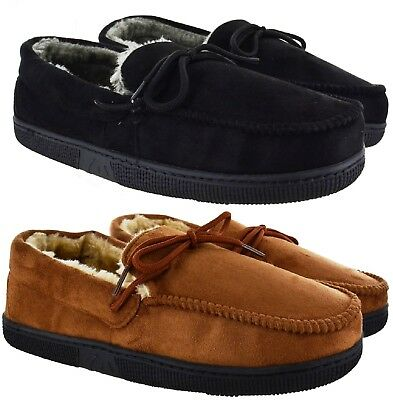 Mens New Gent Warm Fleece Winter Moccasin Flat Hard Sole Slippers Shoes Uk Sizes • 10.95£