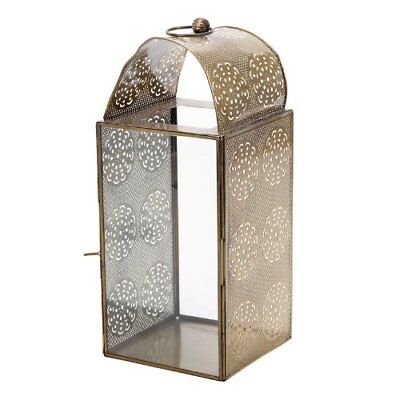 £40.91 • Buy Landon Tyler 36 Cm Iron And Glass Lantern With Cut Out Decoration