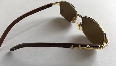 3ca0432f160 Vintage Cartier Gold Wood Sunglasses Size 54-18-140mm ( Gold Brown ) •