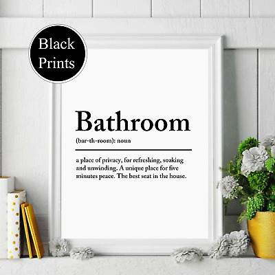 Bathroom Noun Definition Wall Print Wording Picture Quote  Black White • 4.25£