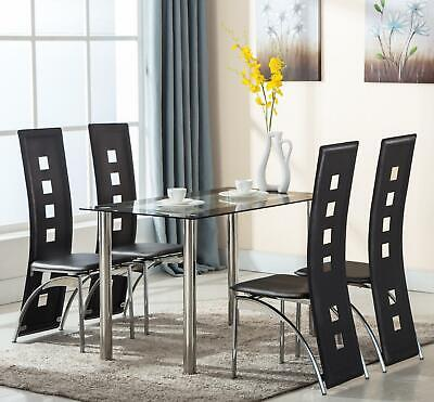 5 Piece Tempered Glass Dining Table And Chairs Set Kitchen Furniture Black • 153.90$