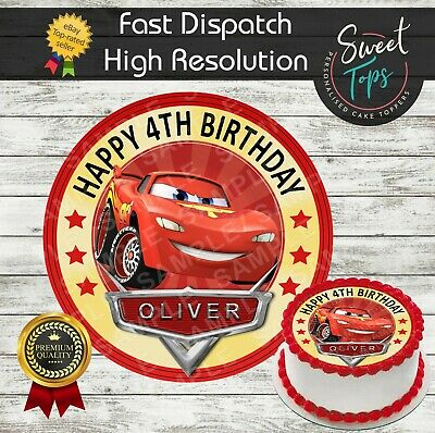 Cars Lightning Mcqueen Edible Birthday Cake Topper Decoration Personalised • 4.49£